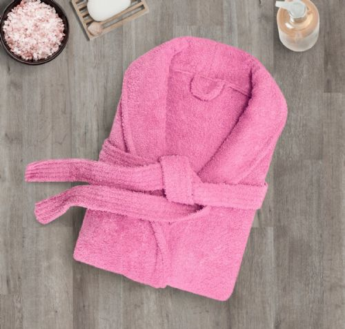 100% Cotton Terry Toweling Luxury Bath Robe Mens & Ladies Collar Shawl Dressing Gown Pink